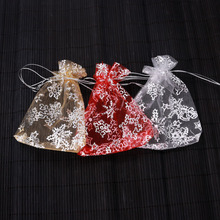 50Pcs/lot 9X12cm Organza bag Snow Flowers Star Wedding voile Candy Christmas Gift Bags Jewelry Packing Gold/Red/White 3Colors