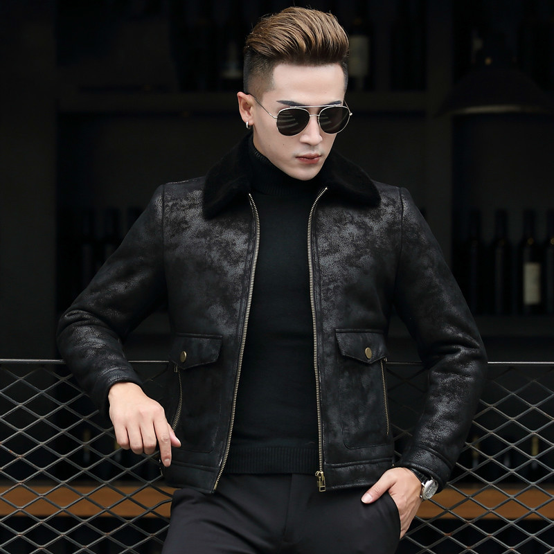 Genuine Leather Jacket Winter Sheepskin Coat For Men Natural Fur Jackets Short Real Leather Men Coat Overcoat 8706 KJ828