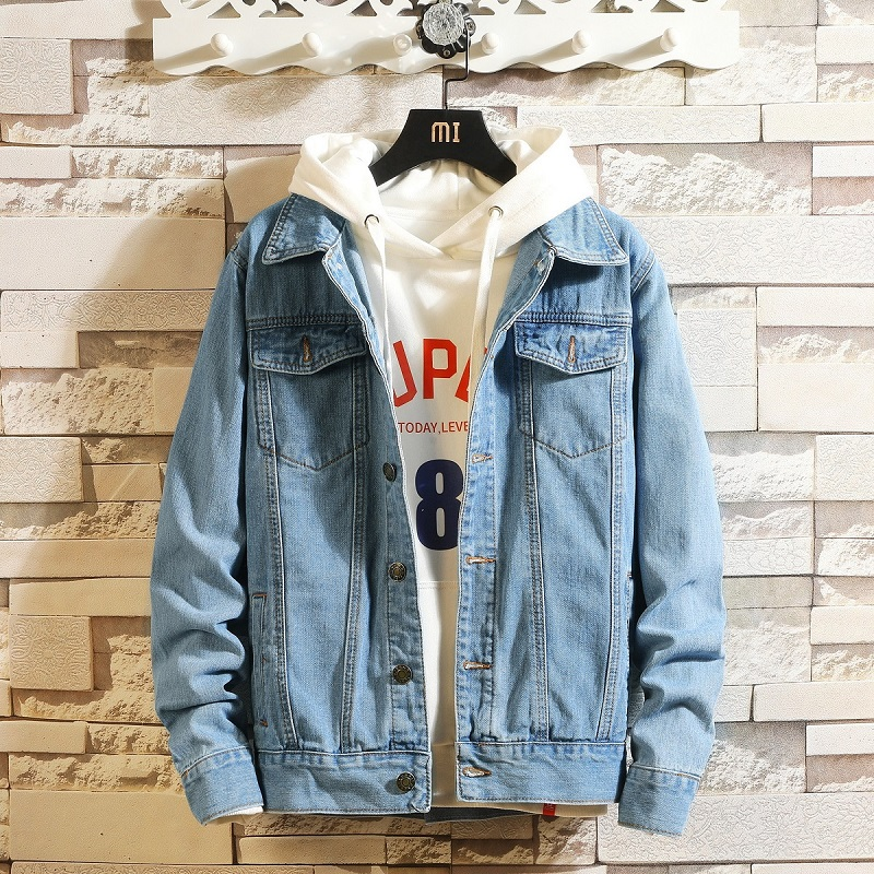 Idopy Men Blue Denim Jackets And Coats New Spring Autumn Outwear Casual Jean Jackets Men Cotton Solid Black Denim Coats Size 4XL