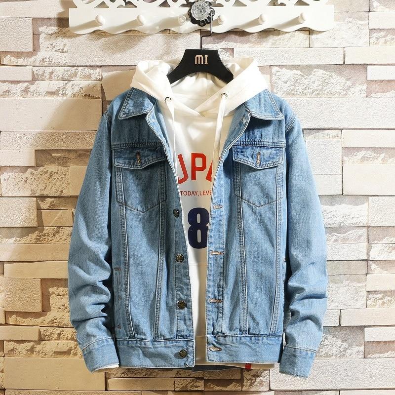 Idopy Men Blue Denim Jackets And Coats New Spring Autumn Outwear Casual Jean Jackets Men Cotton Solid Black Denim Coats Size 4XL