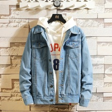 Idopy Men Blue Denim Jackets and Coats New Spring Autumn Outwear Casual Jean