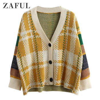 ZAFUL Drop Shoulder Geometric Graphic Button Front Cardigan 2019Full Sleeve V Neck Loose Sweaters Elastic Slouchy Women Cardigan фото