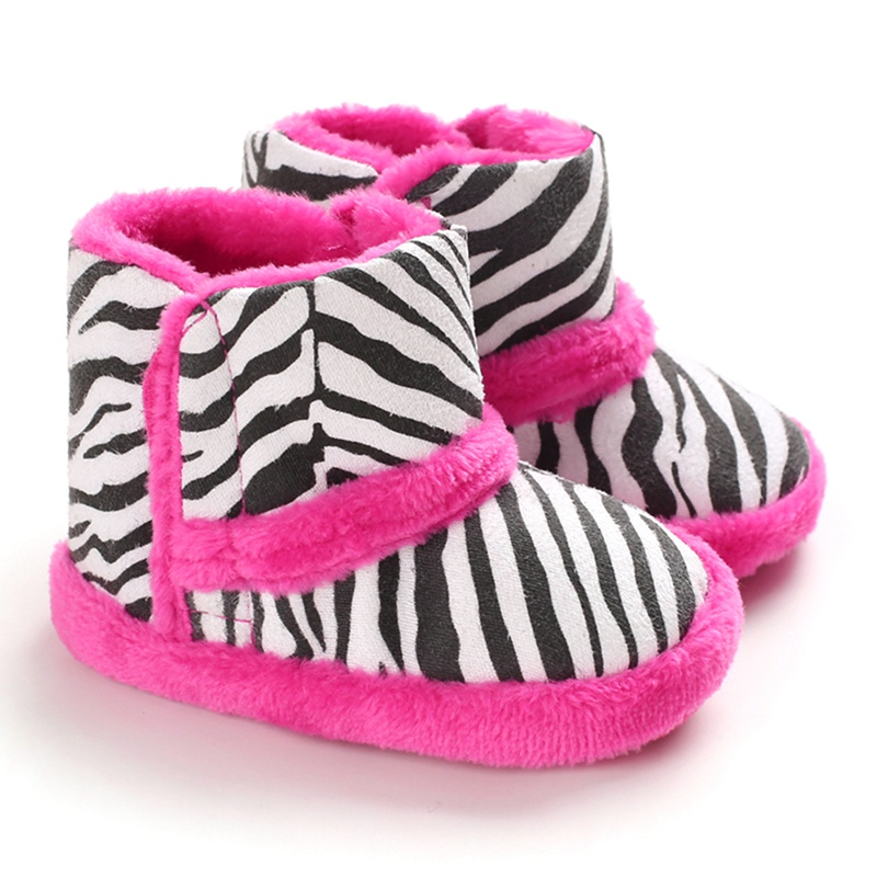 New Winter Warm Baby Boots Children Boy Girl Casual Zebra Pattern Print Thicken Velvet Boots Baby Shoes Walking Shoes C