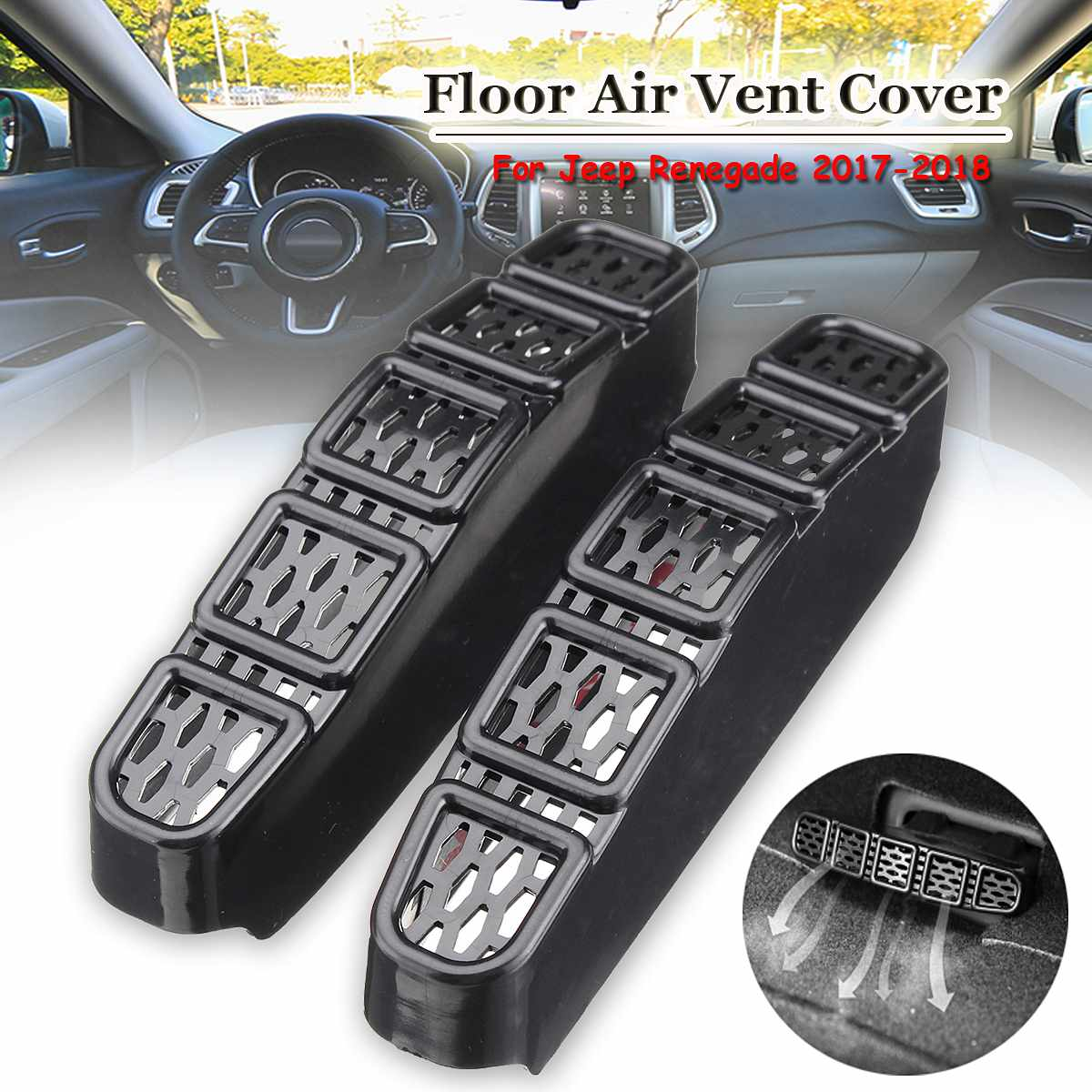 2Pcs Car Under Seat Floor Rear A/C Heater Air Conditioner Duct Vent Outlet Protection Cover For <font><b>Jeep</b></font> Renegade <font><b>Compass</b></font> 2017 <font><b>2018</b></font> image