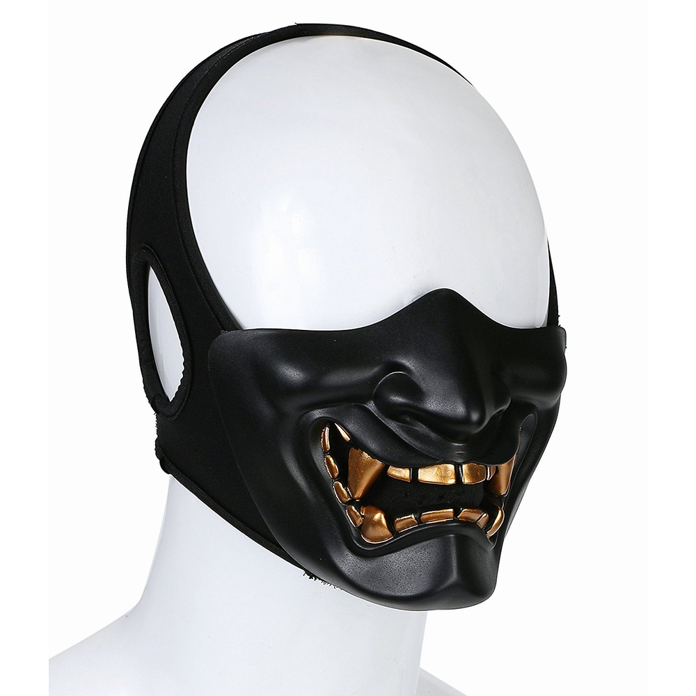 Skull Samurai Half Face Paintball Mask Hunting Wargame Military Army Airsoft Tactical Masks Halloween Costume Cosplay
