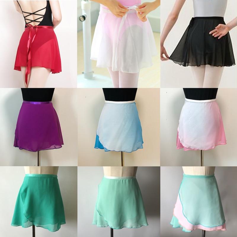 Ballet Dance Skirt Adult Children Chiffon Pure Color Floral Print Practice Leotard Dance Dress Women Ballet Dancing Dress