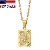 Collares de amuleto cuadrado con letras de A-Z para mujer y hombre, cadena de eslabones trenzados ondulados, regalo de joyería, gran venta al por mayor, GPM05E