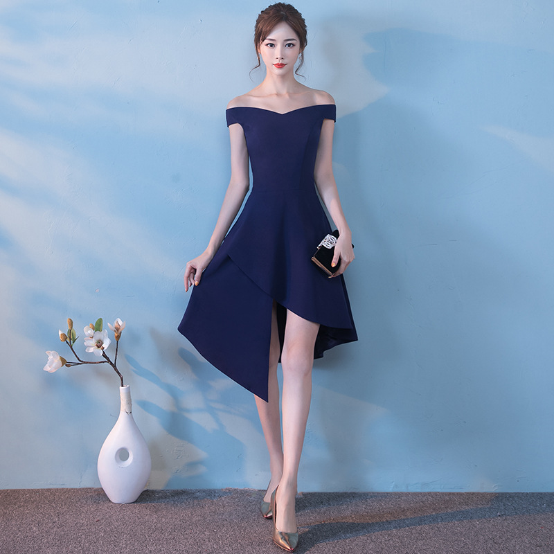 Late Formal Dress 2019 New Style Autumn And Winter Short Banquet Formal Dress Women's Fashion Off-Shoulder Front Short Long Back