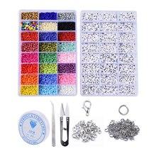 1 caixa diy conjunto de jóias fazendo contas de semente de vidro para jóias diy fazer pulseira colar, com tesoura de rosca de cristal elástico