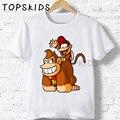 2019 Детские футболки с мультяшным принтом Donkey Kong Country для мальчиков и девочек, забавные детские топы с обезьянами, Детская летняя футболка с к...