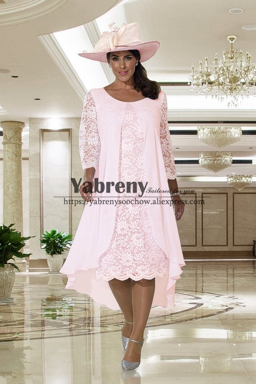 Comfortable Plus Size Tea-Length Mother Of The Bride Dress Pink