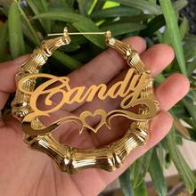 Stainless Custom Bamboo Earrings Hoop Personalized Name Earrings Personalized Jewelry Fashion Show Charming Earrings Gold Gift