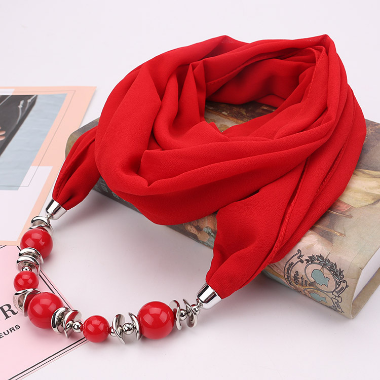 Spring Autumn Fancy Bead Pendant Necklace Ring Scarf Women Chiffon Scarf Hijabs With Pendant Foulard Femme Accessories Scarf