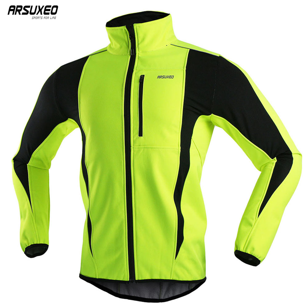 ARSUXEO Men Winter Cycling Jacket Thermal Fleece Bike Jersey Windproof Waterproof Softshell Coat MTB Bicycle Jacket Reflective