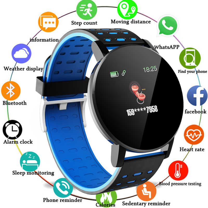 119Plus Bluetooth montre intelligente hommes tension artérielle Smartwatch femmes montre Sport Tracker WhatsApp pour Android Ios reloj inteligente