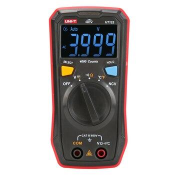 UNI-T UT123 Mini Digital Multimeter Auto Range Data hold AC DC Volt Meter Ohm Temperatue NCV/Continuity Tester EBTN Display uni t ut151b lcd digital multimeter ac dc volt amp ohm capacitance tester