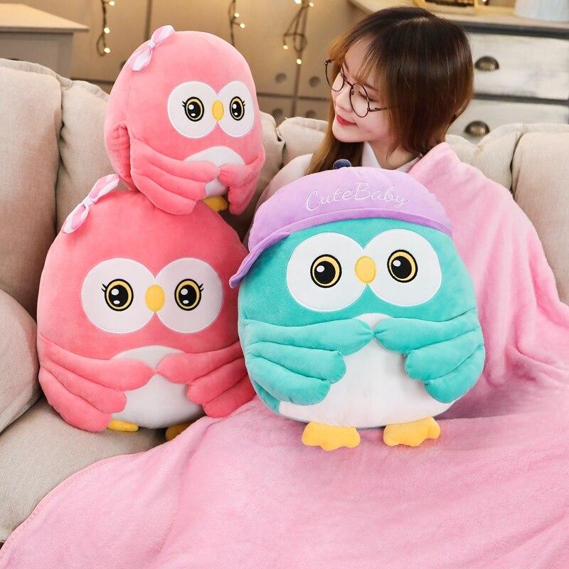 Super Bonito do Animal Da Coruja de Pelúcia Brinquedo Brinquedo de Presente da Festa de Crianças Decoração do Quarto Do Bebê Conforto Mão Inverno cobertor Quente