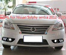 Car 1 Set drl For Nissan Sylphy sentra 2013 2014 2015 LED DRL Daytime Running Lights Daylight Fog light cover headlamp car stlying led car drl daytime running lights with fog lamp hole for sylphy 2014 2015 2016 2pcs