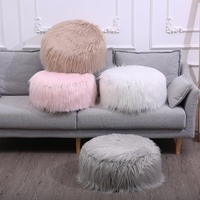 Solid Color Warm Round Seat Cushion Portable Light Inflatable Stool Lovely Plush Fur Washable Rest Chair Cushion Home Textiles
