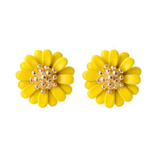 Han edition small lovely and sweet chrysanthemum fashion stud earrings fresh color petal golden