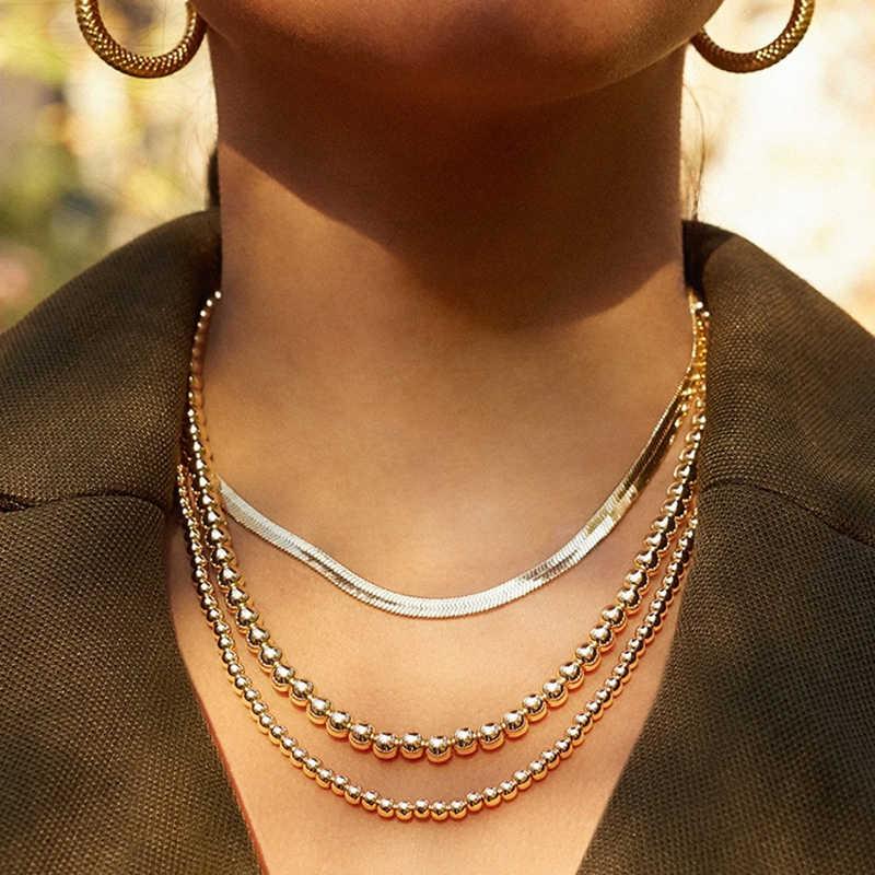 Punk Hip Hop duże koraliki Choker naszyjnik złote boho kolor naszyjnik z kulkami dla kobiet mężczyzn Street łańcuszek na szyję kołnierz biżuteria prezenty