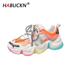 HABUCKN 2020 Spring New Fashion Chunky Women shoes Flat Platform Lace-up casual Shoes Thick bottom Ladies Sneaker zapatos mujer