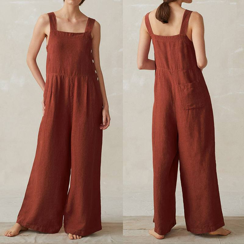 Women Wide Leg Jumpsuits ZANZEA Summer Rompers Fashion Straps Solid Cotton Linen Overalls Dungarees Casual Loose Long Suspenders