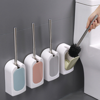 Durable Nail Free Wall Mounted Household Long Handle Toilet Brush Set Hotel Home Stainless Steel Toilet Brush Keep Clear|Bathroom Hooks| |  -