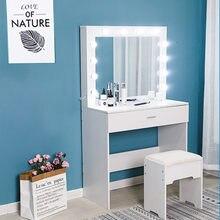 2020 novo conjunto de vaidade com espelho iluminado amortecido fezes penteadeira quarto vaidade maquiagem mesa quente livre em estoque
