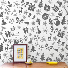 Nordic Style Christmas Hat Trees Snowflake Snowman Wall Sticker For Kids Baby Rooms Christmas Festival Decoration Art Wallpaper(China)