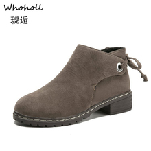 Whoholl Brand Plus Size 5-7.5 Ankle Boots Women Platform High Heels Buckle Shoes Square Heel Short Boot Ladies Casual Footwear 2019 autumn new ankle boots for women platform high heels female lace up shoes woman buckle short boot casual ladies footwear