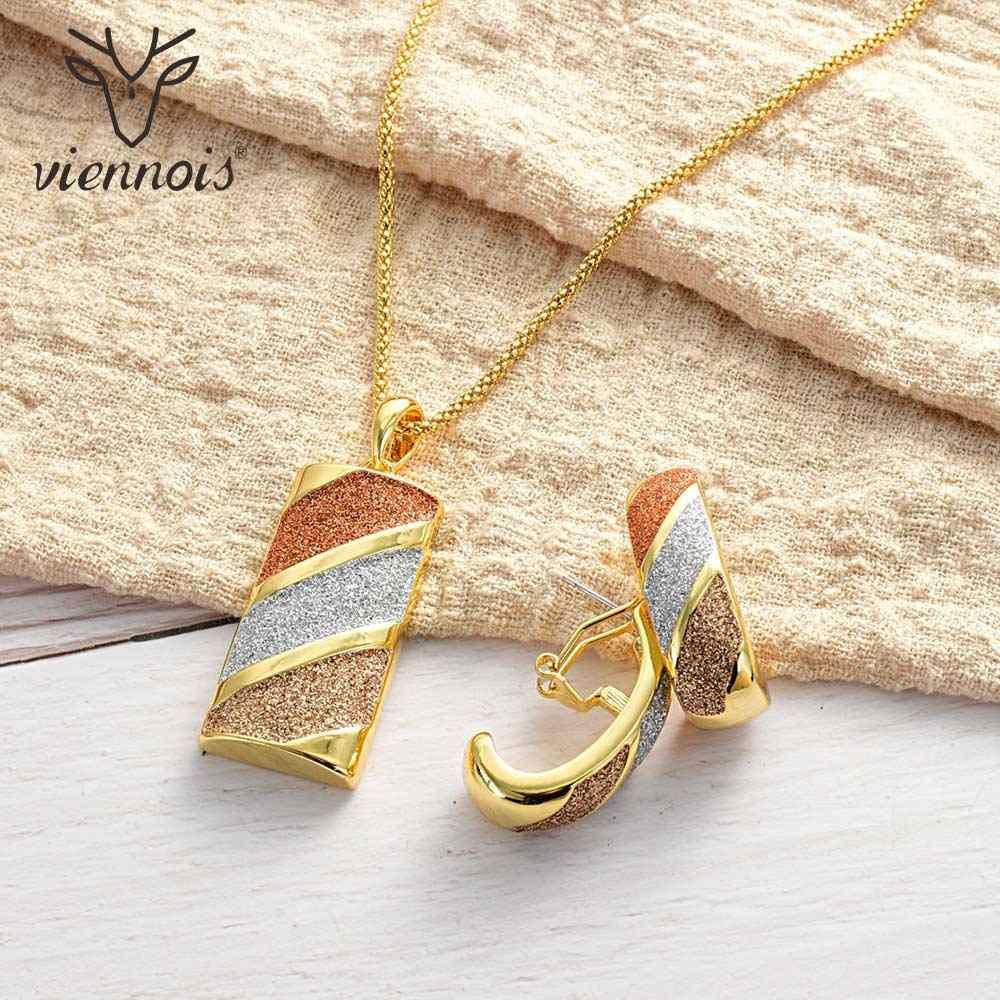 Viennois תכשיטי סט לנשים גיאומטרי עיצוב זהב-כסף צבע שרשרת Stud עגילי תכשיטי מפלגה