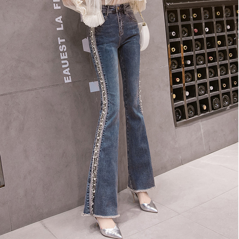 2020 Spring Women Embroidery Jeans Solid Elegant Female Flared Wide Killer Legs Pants High Waist Ladies Harajuku Long Trousers