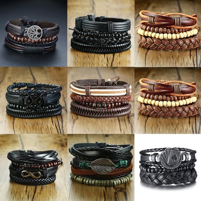 Vnox 3/4Pcs/ Set Braided Wrap Leather Bracelets for Men Vintage Life Tree Rudder Charm Wood Beads Ethnic Tribal Wristbands 3