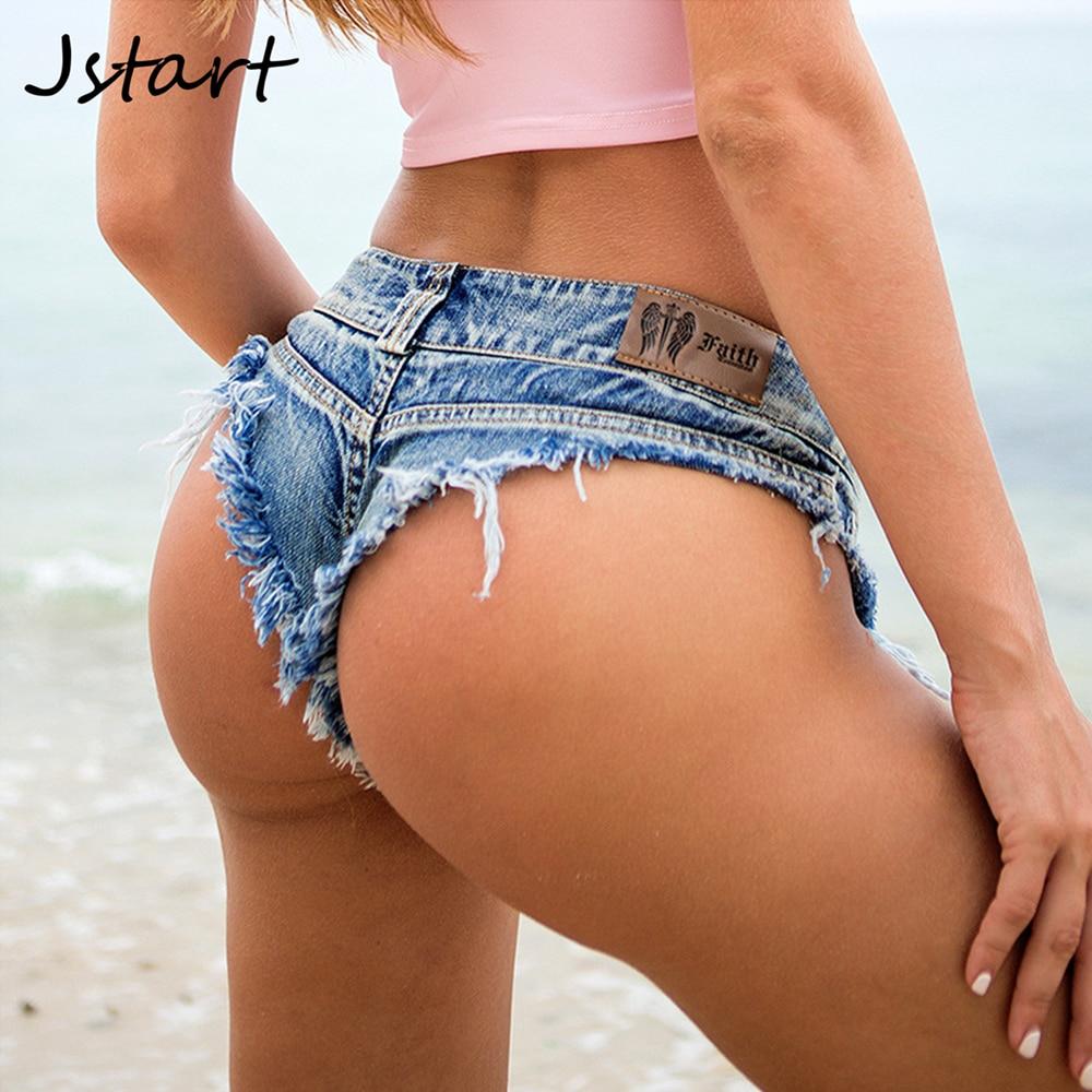 Women Sexy Low Waist Mini Short Jeans Booty Shorts Denim Summer Beach Casual Hot Bikini Bottom