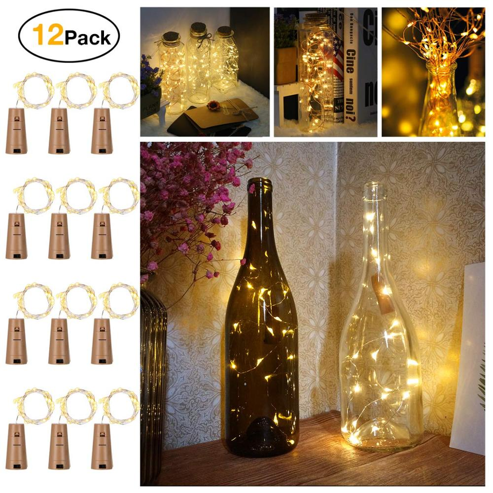 2M 20 LED Wine Bottle Lights Cork Battery Powered Garland DIY Christmas String Lights For Party Halloween Wedding Decoracion