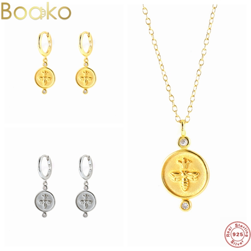 BOAKO Simple Real 925 Sterling Silver Round Bee Diamond Hoop Earring for Women Fashion Clavicle Chain Statement Necklace Jewelry