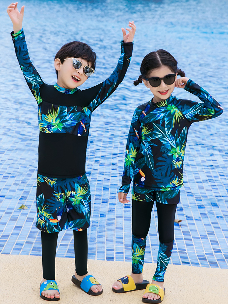 2019 Children Diving Suit Long Sleeve Snorkeling Suit Girls BOY'S Swimsuit Big Kid Swimwear Split Type Three-piece Set