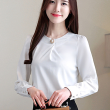 Korean Fashion Woman Silk Blouses Shirt Elegant Women Satin Blouse Plus Size Autumn  Womens Tops and