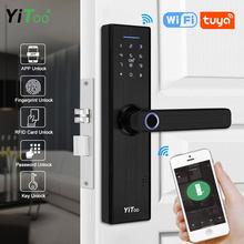 Yitoo x1 wifi fechadura da porta eletrônica com tuya app remotamente/biométrico de impressão digital/cartão inteligente/senha digital/chave de desbloqueio