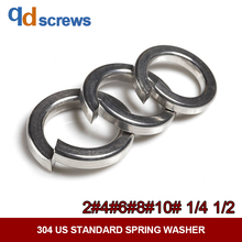 купить 304 2#4#6#8#10#1/4 1/2 US Standard Stainless Steel Spring Washer дешево