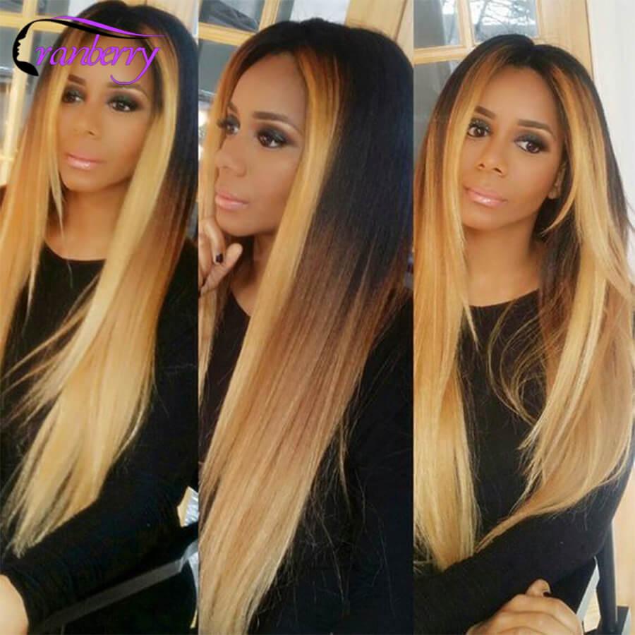 Cranberry Hair Ombre Brazilian Straight Human Hair Weave Bundles 3 pcs T1B/4/27 Blonde Ombre Human Hair Bundles Non Remy Hair