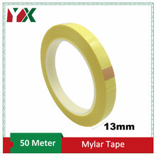 YX – ruban isolant adhésif en Mylar, 13mm, résistant aux hautes températures, pour l'emballage d'isolation électrique des moteurs et transformateurs, jaune, 50M