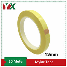YX 13mm Adhesive Insulation Mylar Tape High Temp Withstanding for Transformer Motor Electrical Insulation Wrapping Yellow 50M
