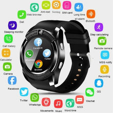 V8 Circular Touch Screen Bluetooth Smart Watch Heart Rate Sports Fitness Tracker With Camera Sim Card Smartwatch For Android Eh#(China)