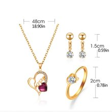 European And American Jewelry Set Of Ornaments Trendy New Love Necklace Earrings Ring Fashion Three-Piece