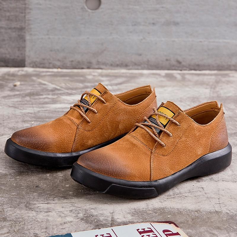 Men Casual Shoes Fashion Oxford Men Top Quality Genuine Leather Shoes Men Flats Shoes Lace up Business  Dress Shoe For Male