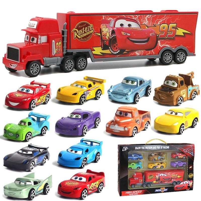 7Pcs/set Cars Disney Pixar Cars 3 Lightning McQueen Mater Somkey Mack Uncle Truck 1:55 Diecast Car Model For Kids Christmas Gift