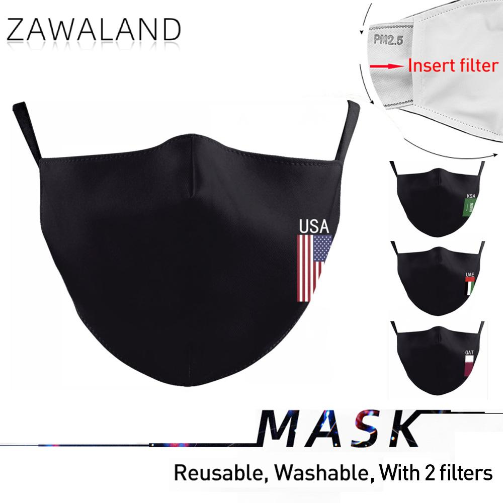Zawaland Adult Black Masks UAE USA QAT KSA Flag Masks Reusable Fabric Mouth Face Mask Anti Dust Filter Mask Washable Mouth Cap