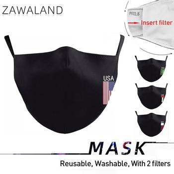 Zawaland Adult Black Masks UAE USA QAT KSA Flag Reusable Fabric Mouth Face Mask Anti Dust Filter Washable Cap - discount item  43% OFF Mask